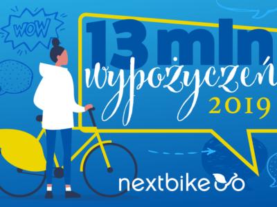 13 milionów miejskich podróży z Nextbike w 2019 roku