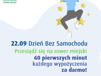 (Polski) Dzień bez samochodu na rowerach miejskich w Zielonej Górze: pierwsza godzina za darmo